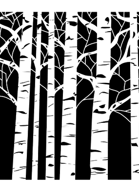 The Crafter's Workshop 6 X 6 Stencil Aspen Trees