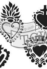 The Crafter's Workshop 6 X 6 Stencil Mini Regal Hearts