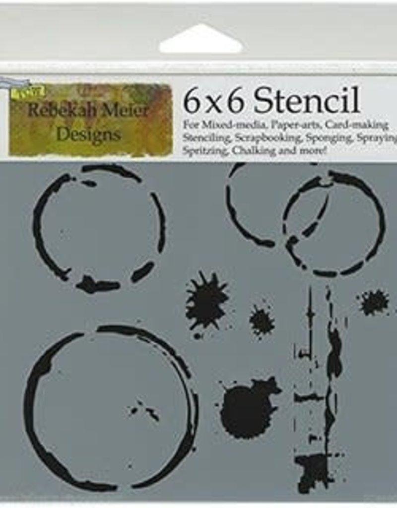 The Crafter's Workshop 6 X 6 Stencil Coffee Splotch Mini