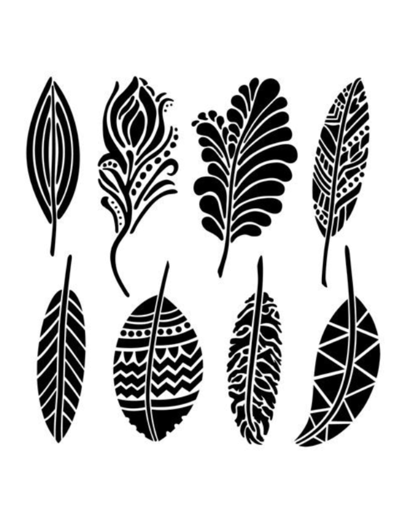 The Crafter's Workshop 6 X 6 Stencil Fancy Feathers