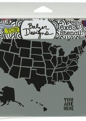 The Crafter's Workshop 6 X 6 Stencil US Map