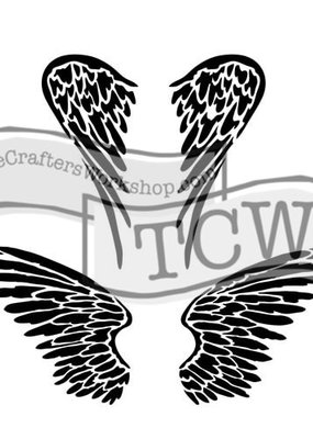 The Crafter's Workshop 6 x 6 Stencil Angel Wings