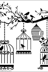 The Crafter's Workshop 6 x 6 Stencil Birds of a Feather