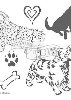 The Crafter's Workshop 6 X 6 Stencil Doggies