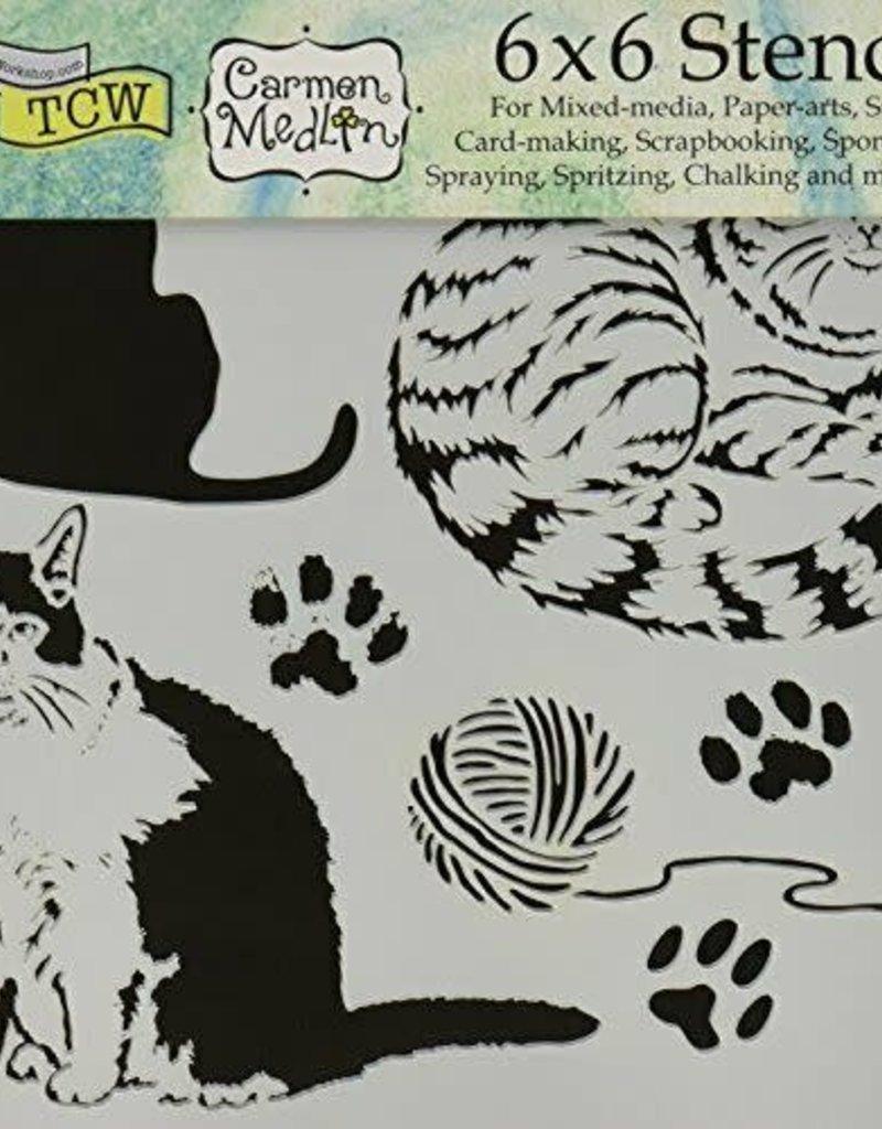 The Crafter's Workshop 6 X 6 Stencil Kitties