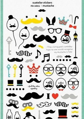 Suatelier Stickers Mustache Glitter