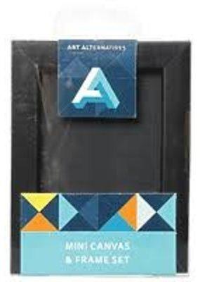Art Alternatives Mini Canvas & Frame Set  Black 2.5 x 3.5 Inch