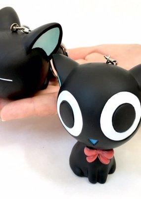 Keyring Squeaky Cat Big Eyes Black