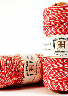 Hemptique Variegated Hemp Twine Red & White