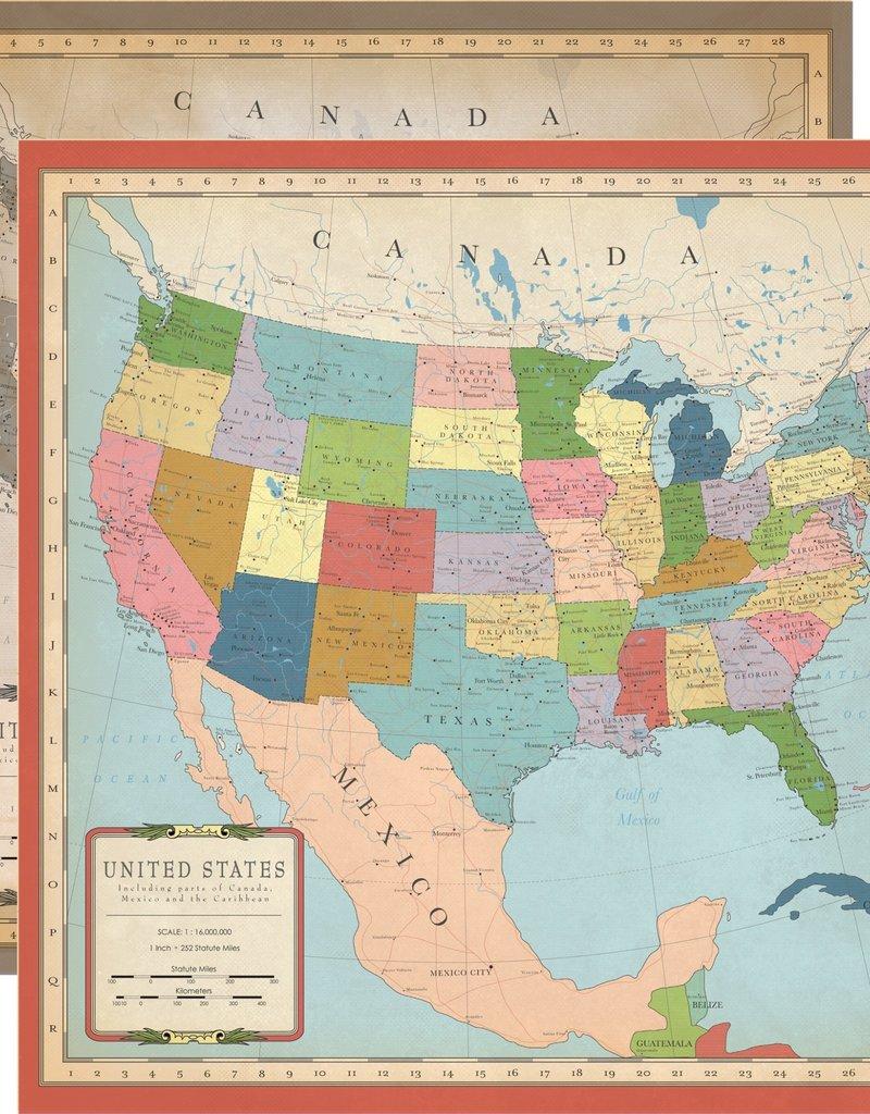 Echo Park Paper Co. 12 X 12 Paper US Map