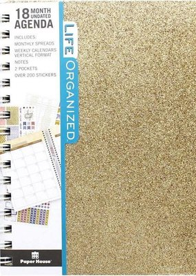 Paper House Planner 18 Month Undated Hardcover Gold Glitter