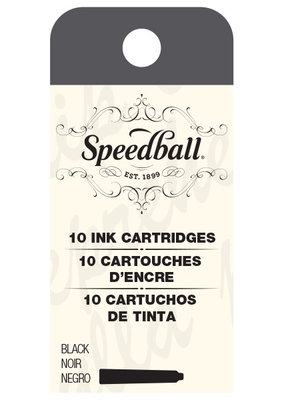 Speedball Calligraphy Fountain Pen Ink Cartridges Black Set of 10