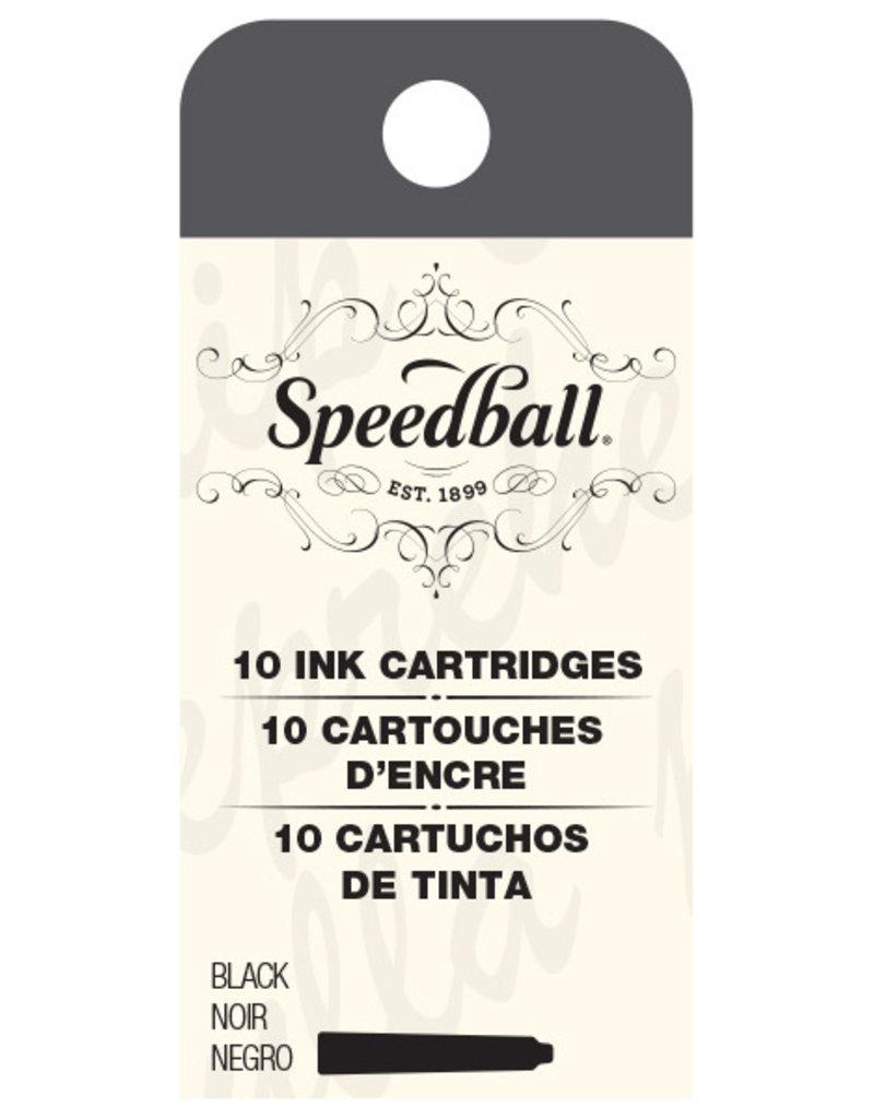 Speedball Calligraphy Fountain Pen Ink Cartridges Black Set of 10