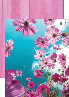 Reminisce 12 X 12 Decorative Paper Cosmos Flower Field