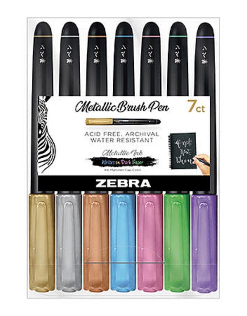 Zebra Zebra Metallic Brush Pen 7 Color Set