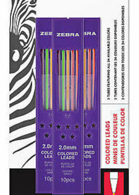 Zebra Zensations Colored Lead Refills 24 Colors 30 Leads