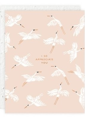 Seedlings Card with Seeded Paper Envelope Flying Cranes