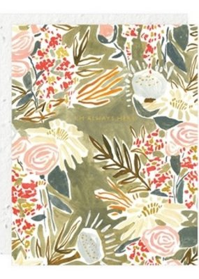 Seedlings Card with Seeded Paper Envelope Gray Floral