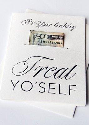 Steel Petal Press Card Money Holder Treat Yo' Self