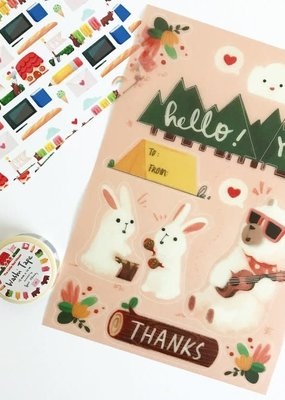 The Little Red House Washi Sticker Sheet Camping Animal