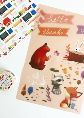 The Little Red House Washi Sticker Sheet Forest Animal