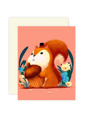 The Little Red House Card Mr. Squirrel With Acorn