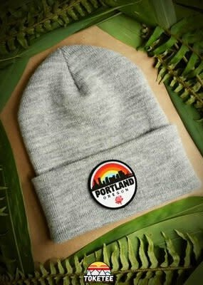 Toketee Beanie Charcoal with Rainbow Portland Patch