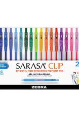 Zebra Zebra Sarasa Clip Retractable Gel Pen Assorted 20 Pack