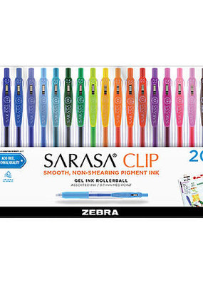 Zebra Zebra Sarasa Clip Retractable Gel Pen Assorted 20 Pack