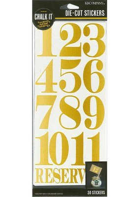 K & Co Sticker Die Cut Gold Numbers