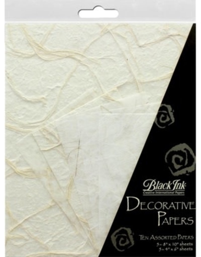 Graphic Products Black Ink Decorative Papers Whites 10pc