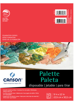Canson Disposable Palette Pad with Thumb Hole 9 x 12 40 Sheets