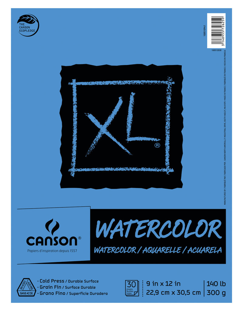 Canson XL Watercolor Paper 9 x 12 30 Sheets