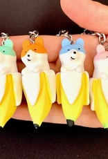 Banana Dog Charm Keyring