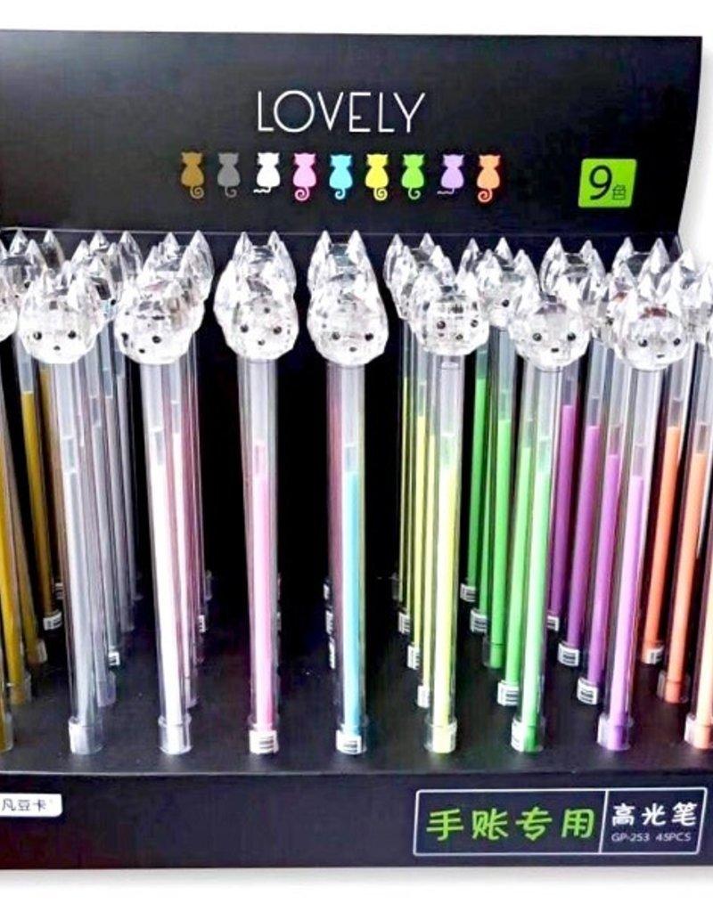 Gel Pen Rainbow Diamond Cat
