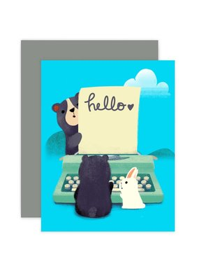 The Little Red House Card Hello Bears and Bunny