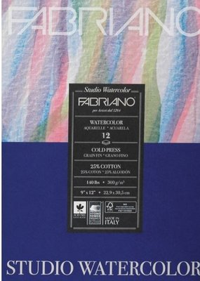 Fabriano Fabriano Studio Watercolor Pad 9 X 12 140# Cold Press 12 Sheets