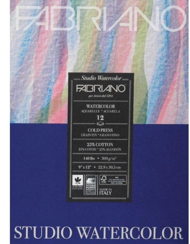 Fabriano Fabriano Studio Watercolor Pad 9 X 12 140# Cold Press 12 Sheets