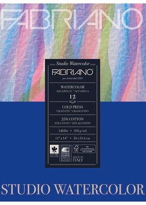 Fabriano Fabriano Studio Watercolor 11 X 14 140# Cold Press 12 Sheet Pad