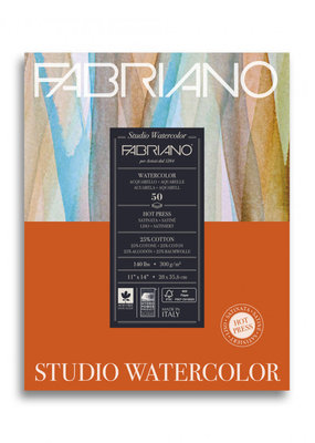 Fabriano Fabriano Studio Watercolor Pad 11X14 140# Hot Press 12 Sheets