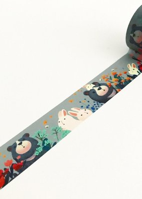The Little Red House Washi Wide Moon Bear With Bunnies