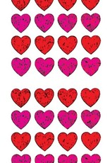 Jillson & Roberts Stickers Prismatic Micro Hearts Red & Pink