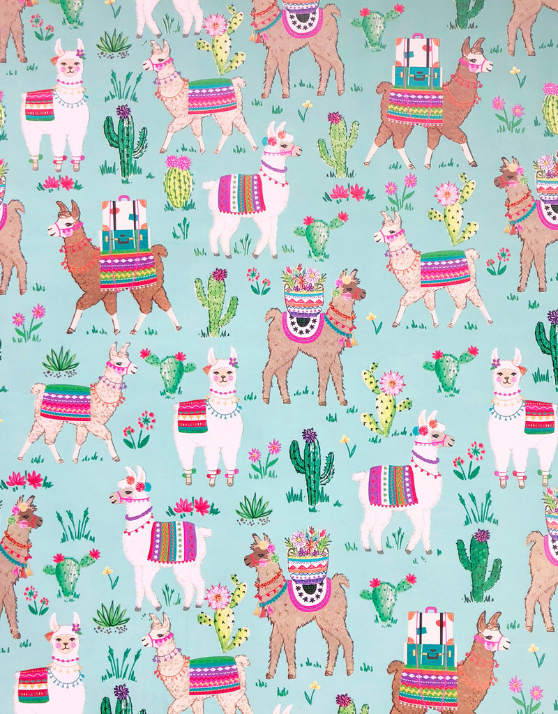 Jillson & Roberts Gift Wrap Roll Dolly Llama