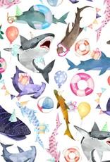 Jillson & Roberts Gift Wrap Roll Shark Party