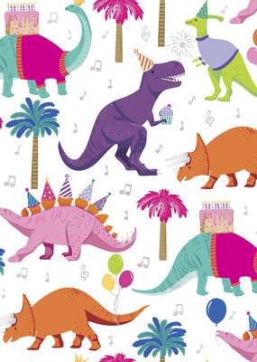 Jillson & Roberts Gift Wrap Roll Dino Party