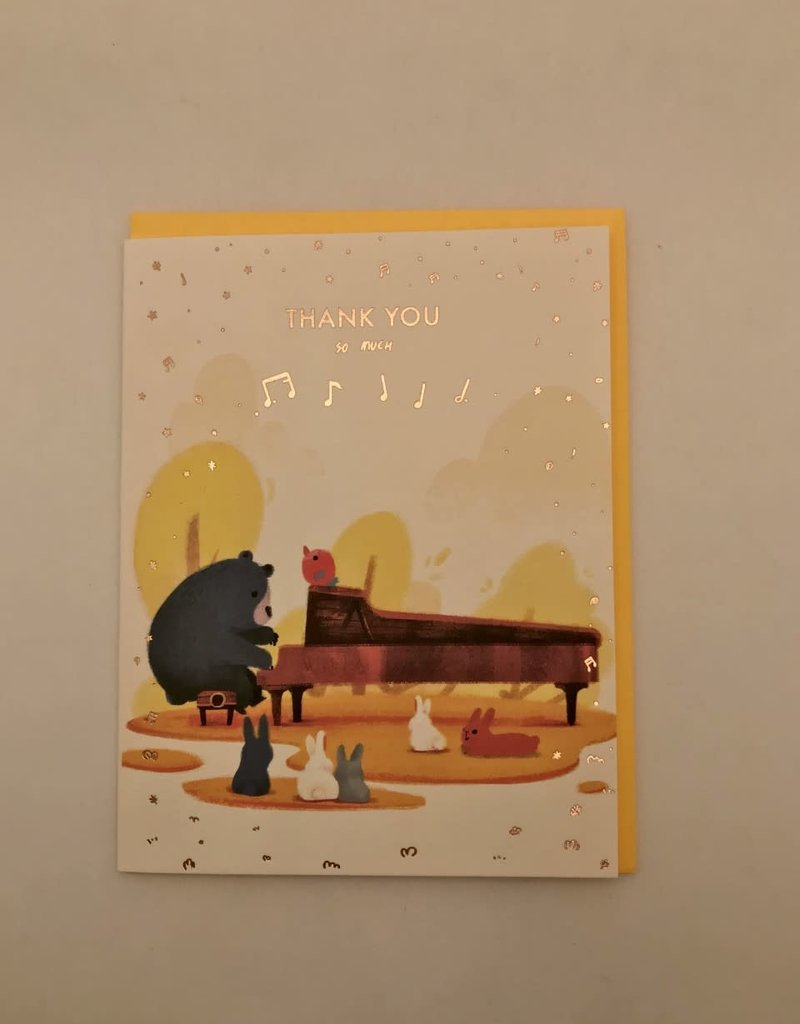 The Little Red House Card Pianist Bear Thank You