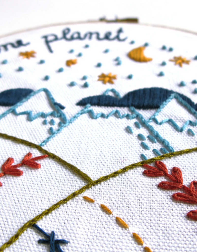 Budgie Goods Embroidery Kit One Planet