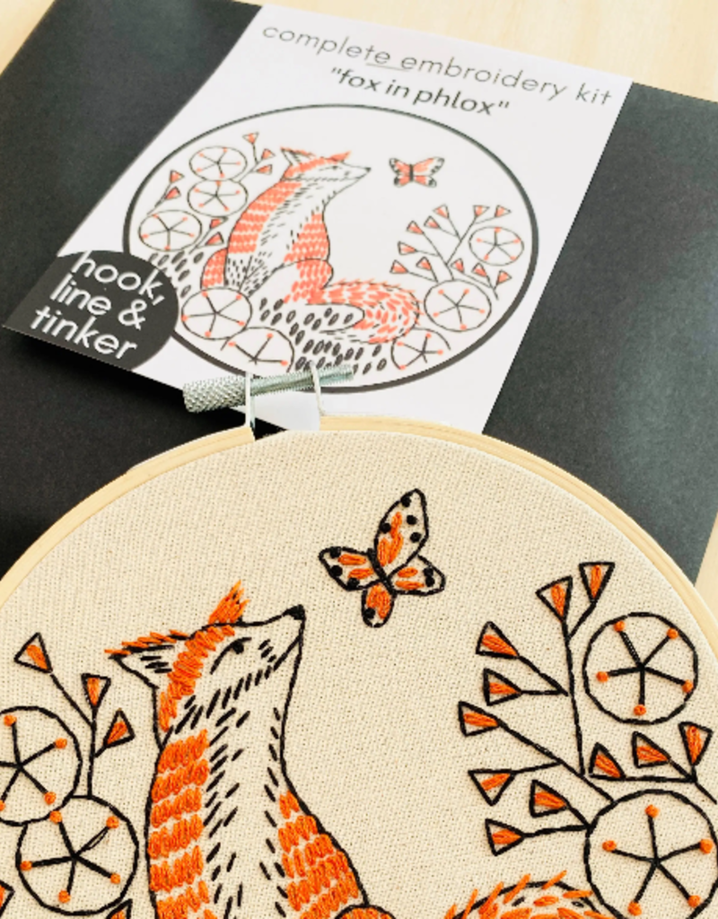 Hook, Line & Tinker Embroidery Kit Fox in Phlox