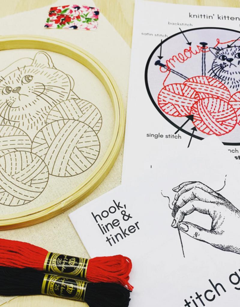 Hook, Line & Tinker Embroidery Kit Knittin' Kitten