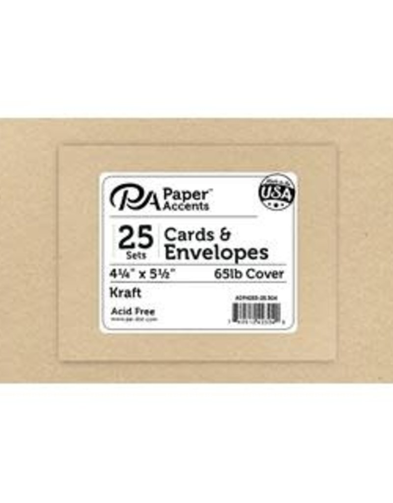 Paper Accents A2 Cards and Envelopes Set 4.25 x 5.5 Recycled Kraft 25 pc